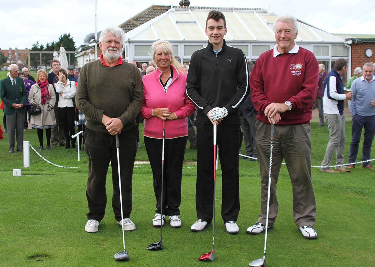 The four captains for 2015/6 season ready to hit their drives on the first tee. From left to right: Bob Ireland, mens captain; Joan Sykes, ladies captain; Jack Green, junior captain; John Wegner, Old Salts captain.