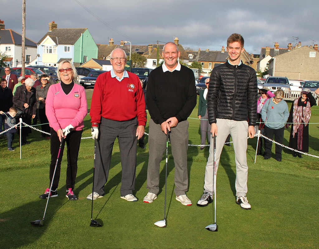 The new captains are (left to right ) Maureen Davision (Ladies captain) Dave Atkins (Old Salts captain) Gary Morgan (Club captain) Oscar Girling (Junior captain)